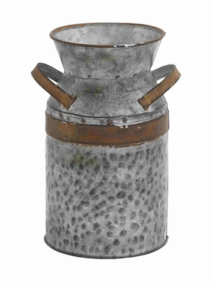 Antique Style Grey and Brown Milk Can Brand Benzara