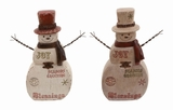 Antique Style Polyresin Snowman Decor Set of 2 Assorted in Brown by Woodland Import