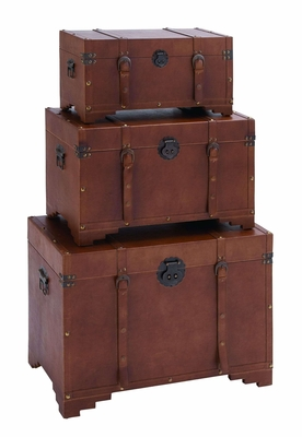 Antique Style Steamer Trunk Set With Smooth Brown Leather Brand Woodland