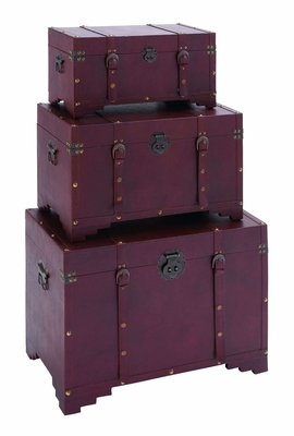 Antique Style Steamer Trunk Set With Smooth Purple Leather Brand Woodland