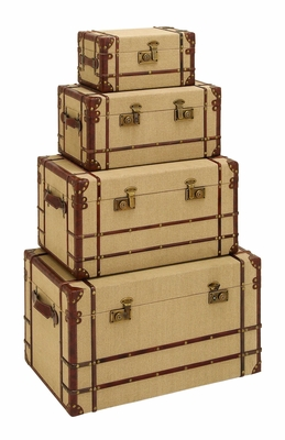 Antique Style Travel Steamer Trunk Set With Burlap And Leather Brand Woodland