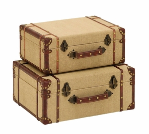 Antique Style Travel Suitcase Set With Burlap And Leather Brand Woodland