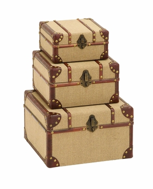 Antique Style Travel Trinket Box Set With Burlap And Leather Brand Woodland