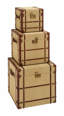 Antique Style Travel Trunk Set With Burlap And Leather Brand Woodland