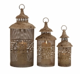 Antique Styled Classy Metal Candle Lantern by Woodland Import
