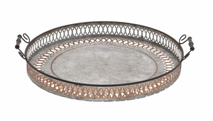 Antique Styled Fancy Metal Tray by Woodland Import