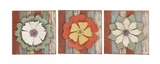 Antique Styled Floral Wood Metal Wall Decor 3 Assorted by Woodland Import