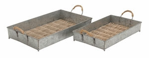 Antique Styled Impressive Metal Rattan Tray by Woodland Import