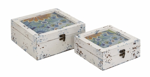 Antique Styled Multicolored Wood Box s/2 by Woodland Import