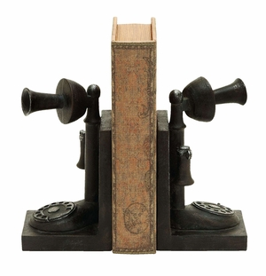Antique Telephone Themed Book End Set In Polyresin Cast Brand Woodland