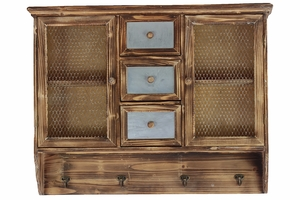 Antique Themed and Elegant Faded Net Styled Wood Cabinet