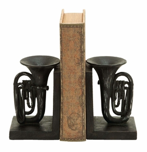 Antique Tuba Horn Themed Book End Set In Polyresin Cast Brand Woodland