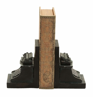 Antique Typewriter Themed Book End Set In Polyresin Cast Brand Woodland