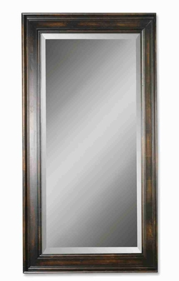 Antique Victorian Rectangular Mirror with Dark Woodtone Finish Brand Uttermost