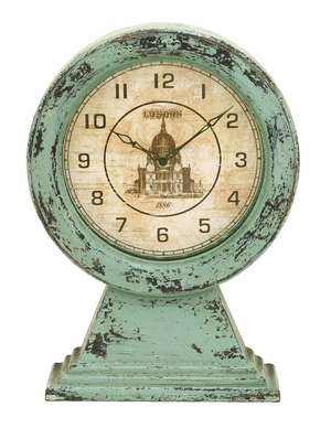 Antique Vintage London Themed Table Top Clock In Aged Wood Brand Woodland