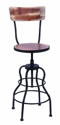 Antique Wood And Steel Bar Chair With Adjustable Seat  by Benzara