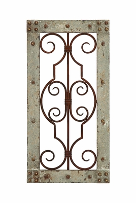 Antique Wooden and Metal Wall Panel with Vintage Ruggedness Brand Woodland