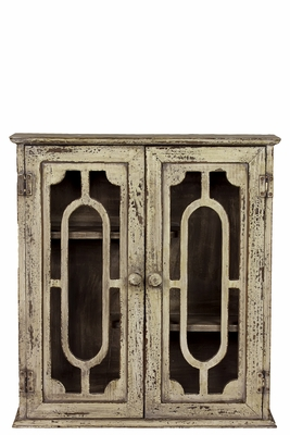 Antique Wooden Wall Cabinet with Peculiar Pattern by Urban Trends Collection