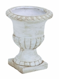 Antiqued Ceramic Urn with Small Pedestal and Rustic Appeal Brand Woodland