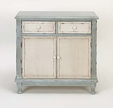 Antiqued French Decor Wood Cabinet in White and Light blue Brand Woodland