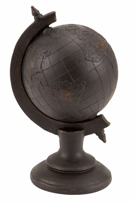Antiqued Globe Polystone Antiqued Globe Art Sculpture Brand Woodland