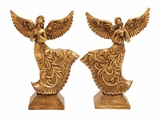 Antiqued Gold Flying Angles 2 Assorted Holiday Decor