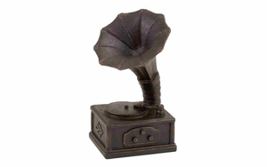 Antiqued Gramophone  Polystone Antiqued Phonograph Sculpture Brand Woodland