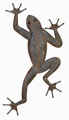 Antiqued Metal Frog Wall Decor Crafted with Intricate Detailing Brand Woodland