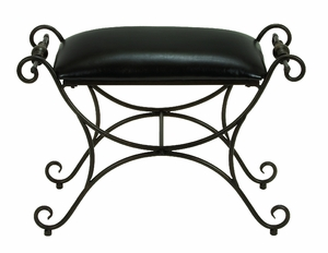 Antiqued Metal Leather Ottoman Foot Stool with Artistic Design Brand Woodland