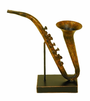 Antiqued Metal SaxoPhone Musical Table Decor Saxe Phone Brand Woodland