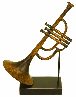Antiqued Metal Trumpet Musical Table Decor Sculpture Accent Brand Woodland