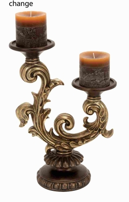 Antiqued Poly Resin Candle Holder Decor with Baroque Design Brand Woodland