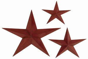 Antiqued Red Stars Metal Wall Art Decor Sculptures - Set of 3 Brand Woodland
