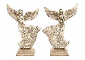 Antiqued Silver Flying Angles 2 Assorted Holiday Decor