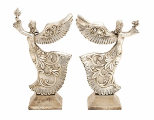 Antiqued Silver Xmas Angles 2 Assorted Holiday Decor