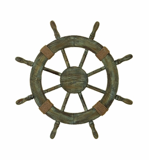 Antiqued Wood Ship wheel with Rope Knot, Nautical Wheel Wall Decor Brand Woodland