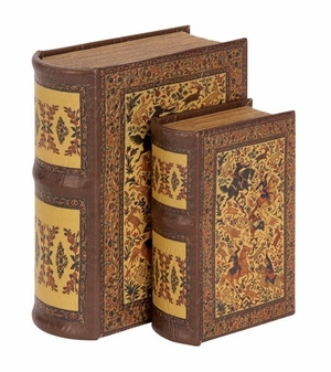 Antiqued Wooden Leather Book Box with Mughlai Design - Set of 2 Brand Woodland