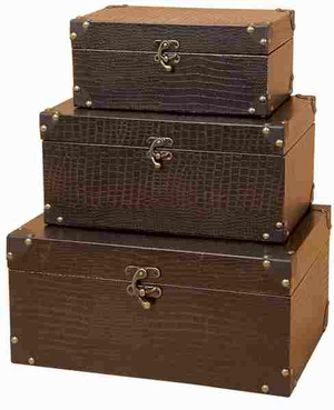 Antiqued Wooden Leather Box with Bronze Finish - Set of 3 Brand Woodland