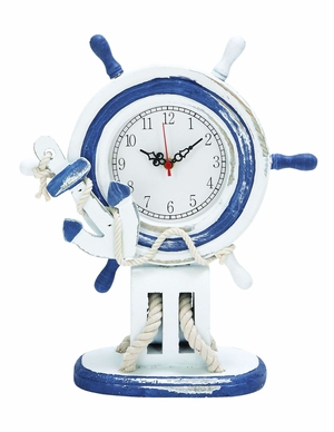 Antiqued Wooden Steering Wheel Clock - Nautical Clock in White and Blue Brand Woodland