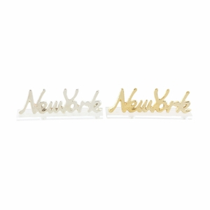 Appealing Acrylic New York Aluminium Sign In Gold And Silver, 2 Assortment - 98420 by Benzara