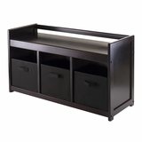 Appealing Addison 4pc Storage Bench with 3 Black Fabric Baskets by Winsome Woods