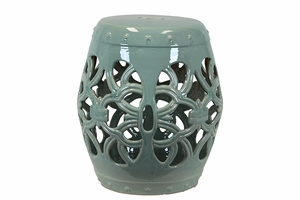 Appealing Ceramic Garden Stool Open- Work Green by Urban Trends Collection