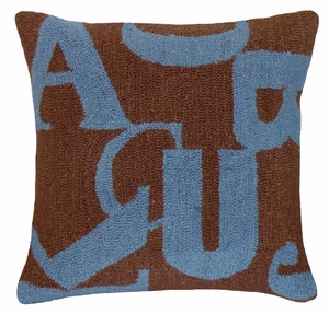"Appealing Letters Blue Brown Hooked Pillow 16x16"" by 123 Creations"