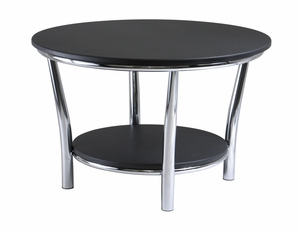Appealing Maya Round Coffee Table with Black Top by Winsome Woods