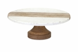 Appealing Poppy Marble and Wood Cake Stand