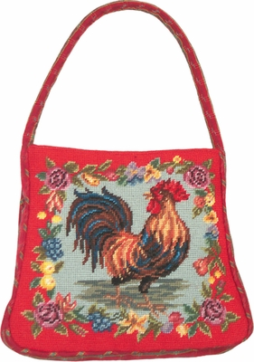 Appealing Rooster With Fruits Petit Point Purse/Handle by 123 Creations