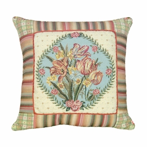 Appealing Tulips Needlepoint Pillow by 123 Creations