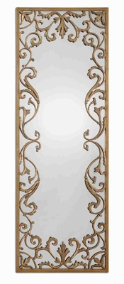 Apricena Mirror with Antique Gold Leaf Frame and Gray Wash Brand Uttermost