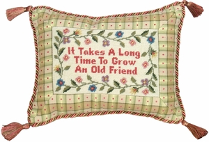 Apt It Takes A Long Time Petit-Point Pillow by 123 Creations