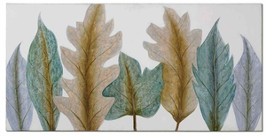 Aqua Leaves Canvas Art with High Gloss Accents Brand Uttermost